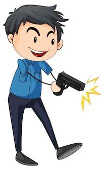 Personnage de dessin animé de personnage de dessin animé policier homme