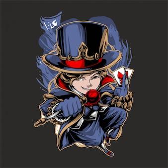 Personnage de dessin animé petit magicien apporte un bâton