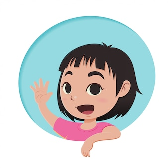 Personnage de dessin animé de petite fille