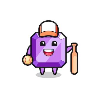 Personnage de dessin animé de pierre précieuse violette en tant que joueur de baseball, design de style mignon pour t-shirt, autocollant, élément de logo
