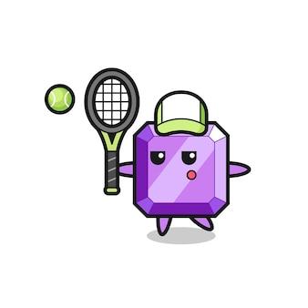 Personnage de dessin animé de pierre précieuse violette en tant que joueur de tennis, design de style mignon pour t-shirt, autocollant, élément de logo