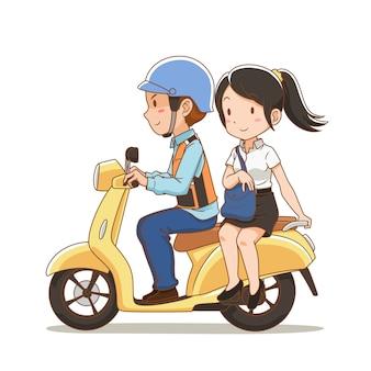 Personnage de dessin animé de pilote de taxi moto et la jeune fille à cheval sur un moto-taxi.