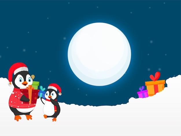 Personnage de dessin animé de pingouins avec coffrets cadeaux et neigeux sur fond bleu de pleine lune