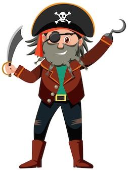 Personnage de dessin animé pirate du capitaine crochet isolé sur fond blanc