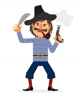 Personnage de dessin animé de pirate avec pipe