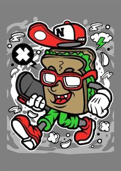 Personnage de dessin animé de planche à roulettes sandwich