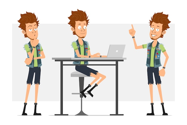 Personnage de dessin animé plat barbu hipster homme en short en jean et jerkin