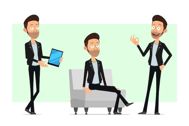 Personnage de dessin animé plat barbu rock and roll homme en veste de cuir. garçon réussi montrant signe ok, tablette et reposant sur le canapé.