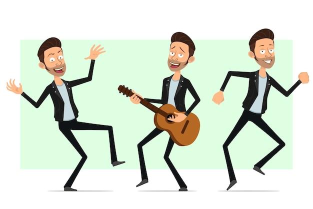Personnage de dessin animé plat barbu rock and roll homme en veste de cuir. garçon souriant jouant à la guitare et dansant.