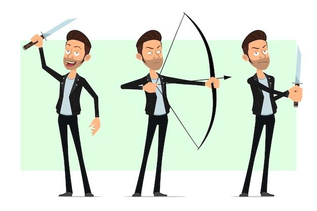 Personnage de dessin animé plat barbu rock and roll homme en veste de cuir. garçon tirant avec un arc et tenant un couteau.