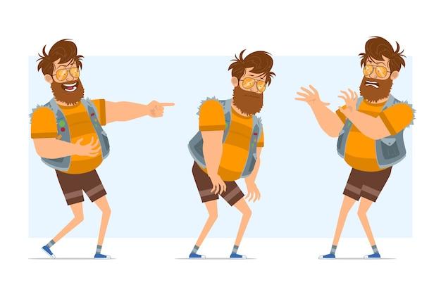 Personnage de dessin animé plat drôle barbu gros hipster homme en jeans jerkin et lunettes de soleil. prêt pour l'animation. garçon fatigué, reculant et riant. isolé sur fond bleu.