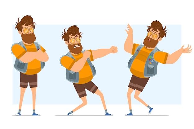 Personnage de dessin animé plat drôle barbu gros hipster homme en jeans jerkin et lunettes de soleil. prêt pour l'animation. garçon prêt à se battre et à retomber inconscient. isolé sur fond bleu.