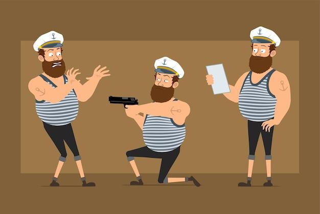 Personnage de dessin animé plat drôle barbu gros marin homme en chapeau de capitaine avec tatouage. garçon effrayé, tir au pistolet et note de lecture.