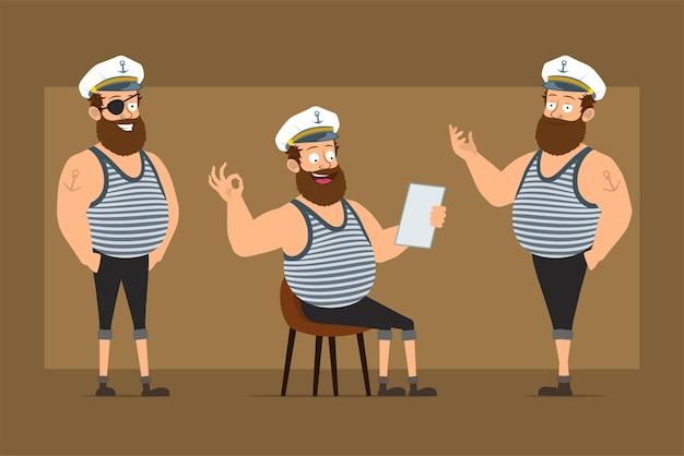 Personnage de dessin animé plat drôle barbu gros marin homme en chapeau de capitaine avec tatouage. garçon posant, lisant une note et montrant un signe correct.