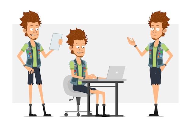 Personnage de dessin animé plat drôle barbu hipster homme en short en jean et jerkin