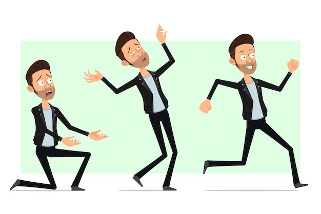 Personnage de dessin animé plat drôle barbu rock and roll homme en veste de cuir. garçon qui court, tombe inconscient et se tient debout sur le genou.