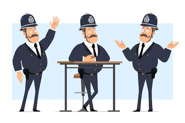 Personnage de dessin animé plat drôle britannique gros policier en casque et uniforme. garçon posant, se reposant et montrant un geste de bienvenue.