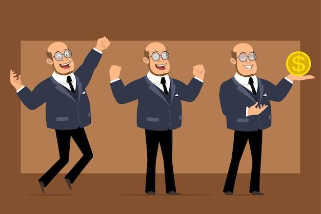 Personnage de dessin animé plat drôle chauve professeur homme en costume sombre et lunettes. garçon sautant, montrant les muscles et tenant le signe de la pièce d'un dollar.