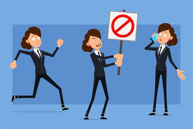 Personnage de dessin animé plat drôle de femme d'affaires en costume noir avec cravate noire. fille parlant au téléphone et ne tenant aucun panneau d'arrêt d'entrée.
