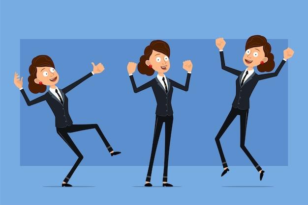 Personnage de dessin animé plat drôle de femme d'affaires en costume noir avec cravate noire. fille sautant, montrant les muscles et les pouces vers le haut.