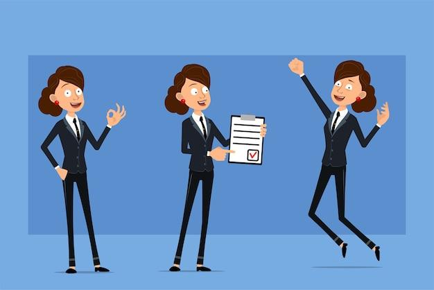 Personnage de dessin animé plat drôle de femme d'affaires en costume noir avec cravate noire. fille tenant pour faire la tablette de liste et montrant le signe correct.