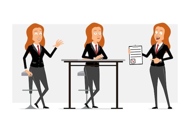 Personnage de dessin animé plat drôle de femme d'affaires rousse en costume noir avec cravate rouge. fille posant, se reposant et tenant pour faire la liste avec la marque. prêt pour l'animation. isolé sur fond gris. ensemble.