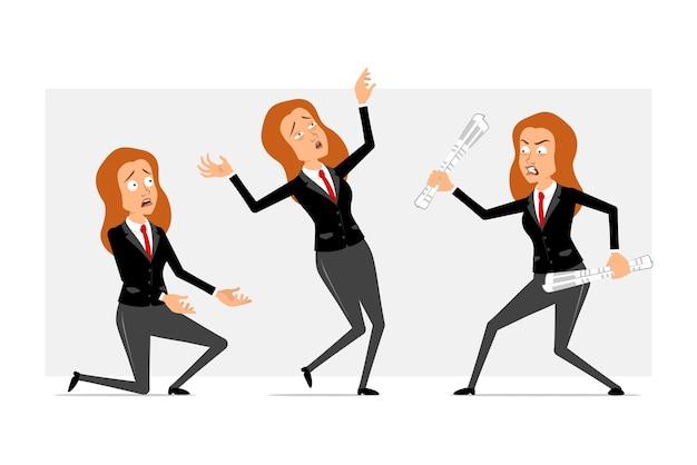 Personnage de dessin animé plat drôle de femme d'affaires rousse en costume noir avec cravate rouge. fille qui se bat, retombe et se tient debout sur le genou. prêt pour l'animation. isolé sur fond gris. ensemble.