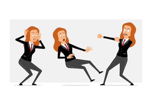 Personnage de dessin animé plat drôle de femme d'affaires rousse en costume noir avec cravate rouge. fille qui se bat, tombe et a peur. prêt pour l'animation. isolé sur fond gris. ensemble.