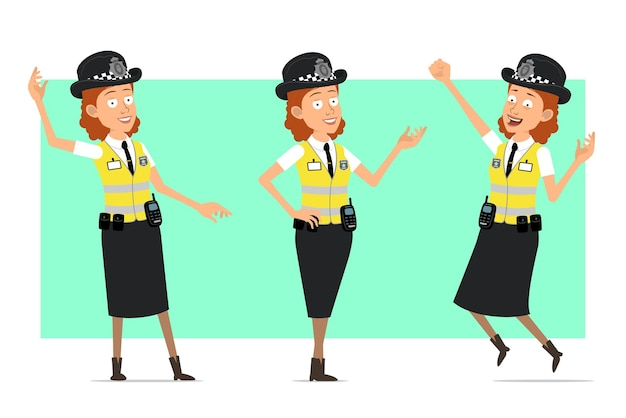 Personnage de dessin animé plat drôle de femme de police britannique en veste jaune avec badge. fille sautant et montrant un geste de bienvenue.