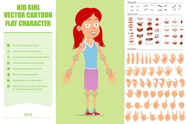 Personnage de dessin animé plat drôle de fille rousse en jupe violette. expressions du visage, yeux, sourcils, bouche et mains.