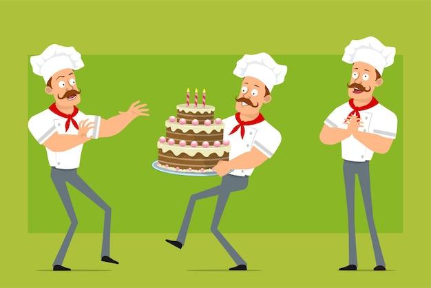 Personnage de dessin animé plat drôle fort chef cuisinier homme en uniforme blanc et chapeau de boulanger. garçon effrayé et portant un gâteau d'anniversaire sucré.
