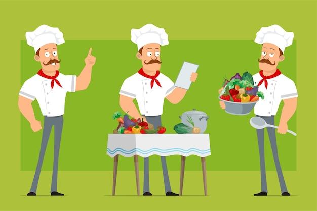 Personnage de dessin animé plat drôle fort chef cuisinier homme en uniforme blanc et chapeau de boulanger. garçon lecture note et cuisson des aliments à partir de légumes.