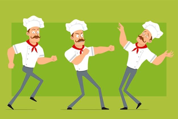 Personnage de dessin animé plat drôle fort chef cuisinier homme en uniforme blanc et chapeau de boulanger. garçon qui court, se bat et tombe.