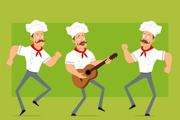 Personnage de dessin animé plat drôle fort chef cuisinier homme en uniforme blanc et chapeau de boulanger. garçon sautant, dansant et jouant du rock à la guitare.