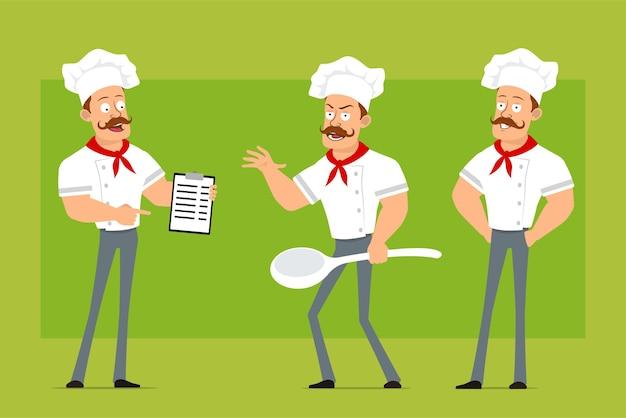 Personnage de dessin animé plat drôle fort chef cuisinier homme en uniforme blanc et chapeau de boulanger. garçon tenant une grosse cuillère et une tablette avec des tâches.