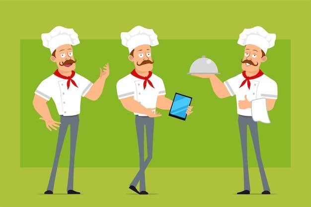 Personnage de dessin animé plat drôle fort chef cuisinier homme en uniforme blanc et chapeau de boulanger. garçon tenant un plateau en métal et montrant une nouvelle tablette intelligente.
