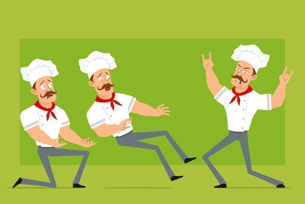 Personnage de dessin animé plat drôle fort chef cuisinier homme en uniforme blanc et chapeau de boulanger. garçon tombant, montrant le signe du rock and roll.