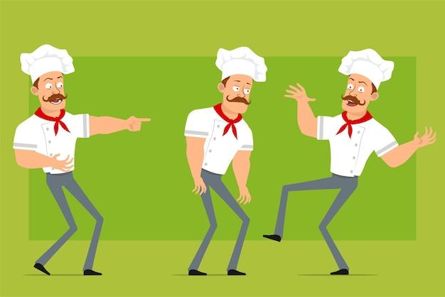 Personnage de dessin animé plat drôle fort chef cuisinier homme en uniforme blanc et chapeau de boulanger. garçon triste, fatigué, riant, sautant et dansant.