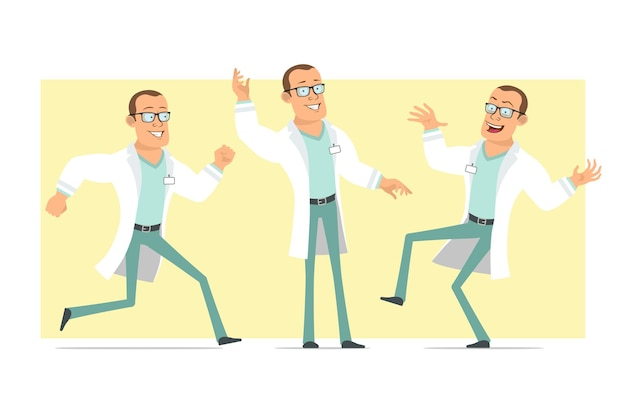 Personnage de dessin animé plat drôle fort docteur homme en uniforme blanc et lunettes. garçon dansant, sautant et courant. prêt pour l'animation. isolé sur fond jaune. ensemble.