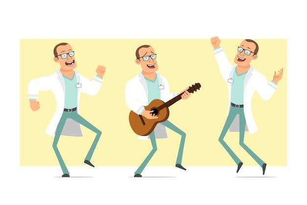 Personnage de dessin animé plat drôle fort docteur homme en uniforme blanc et lunettes. garçon sautant, dansant et jouant à la guitare. prêt pour l'animation. isolé sur fond jaune. ensemble.