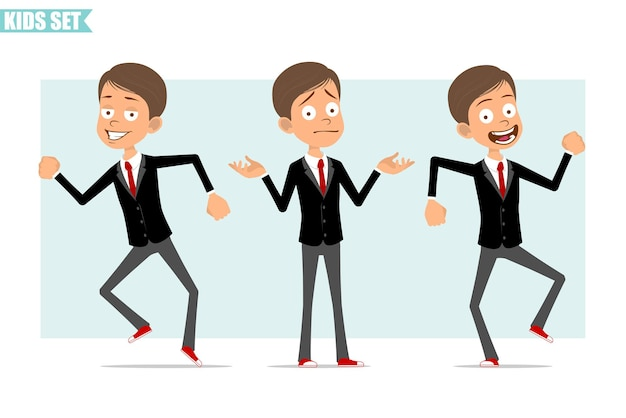 Personnage de dessin animé plat drôle de garçon d'affaires en veste noire avec cravate rouge. incompréhension des enfants, danser et sauter. prêt pour l'animation. isolé sur fond gris. ensemble.