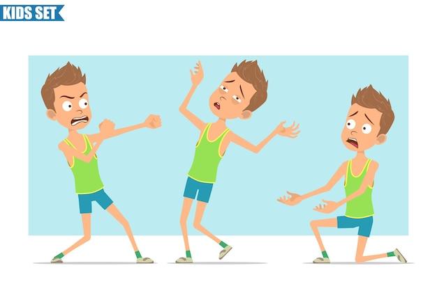 Personnage de dessin animé plat drôle de garçon de sport en chemise verte et short. enfant qui se bat, debout sur le genou retombant inconscient.