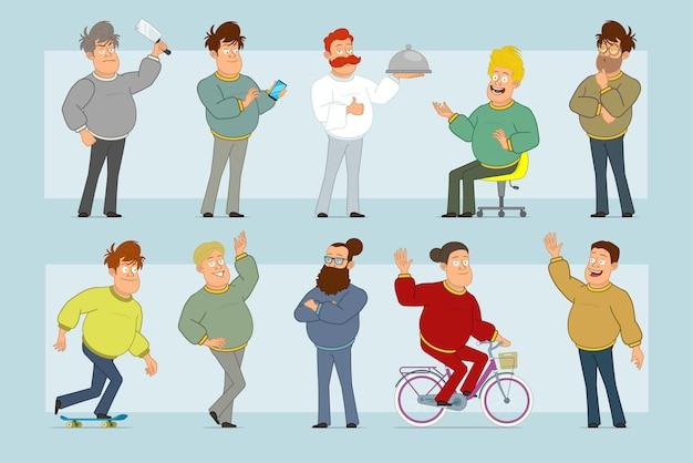 Personnage de dessin animé plat drôle gros homme souriant en jeans et pull. garçon pensant, posant, à cheval sur planche à roulettes et vélo