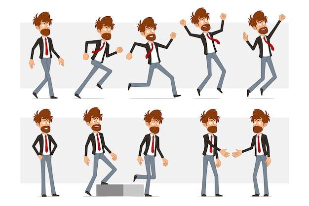 Personnage de dessin animé plat drôle d'homme d'affaires barbu en costume noir et cravate rouge. garçon se serrant la main, courant et marchant vers son objectif.