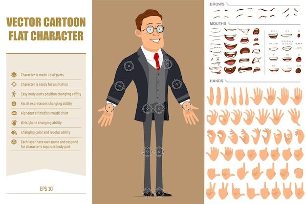 Personnage de dessin animé plat drôle homme d'affaires fort en manteau noir et cravate. expressions du visage, yeux, sourcils, bouche et mains.