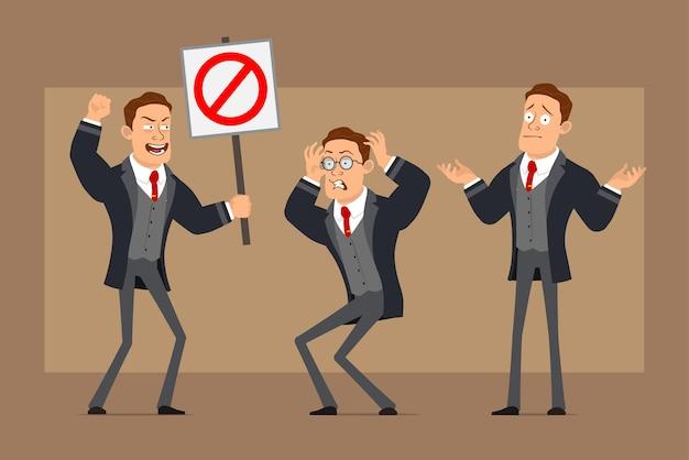 Personnage de dessin animé plat drôle homme d'affaires fort en manteau noir et cravate. garçon en colère, malentendu et ne tenant aucun panneau d'arrêt d'entrée.