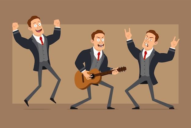 Personnage de dessin animé plat drôle homme d'affaires fort en manteau noir et cravate. garçon dansant, jouant à la guitare et montrant le signe du rock and roll.
