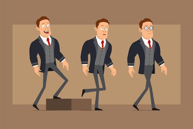 Personnage de dessin animé plat drôle homme d'affaires fort en manteau noir et cravate. garçon fatigué qui réussit à atteindre son objectif.