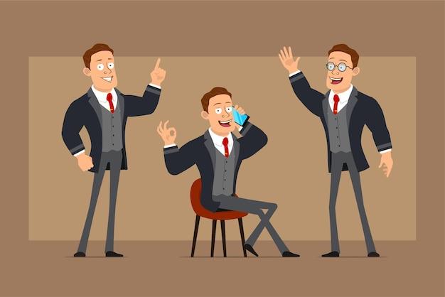 Personnage de dessin animé plat drôle homme d'affaires fort en manteau noir et cravate. garçon parlant au téléphone, montrant le geste bonjour et signe correct.