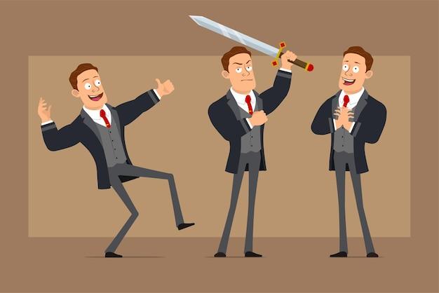 Personnage de dessin animé plat drôle homme d'affaires fort en manteau noir et cravate. garçon posant, tenant une grosse épée et montrant les pouces vers le haut.